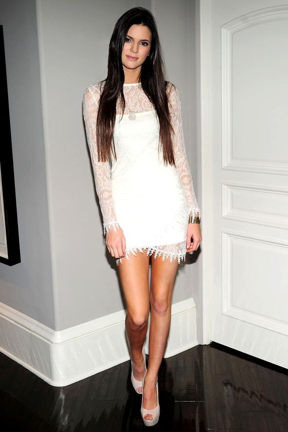 Jenner in White Lace Dress