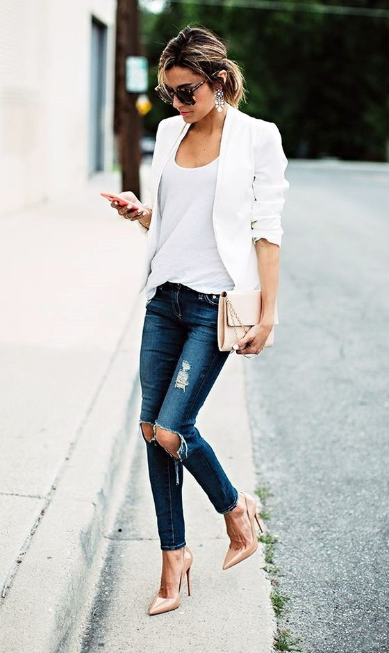 30 Inspiring Ways To Wear A White Blazer 2018 | FashionTasty.com