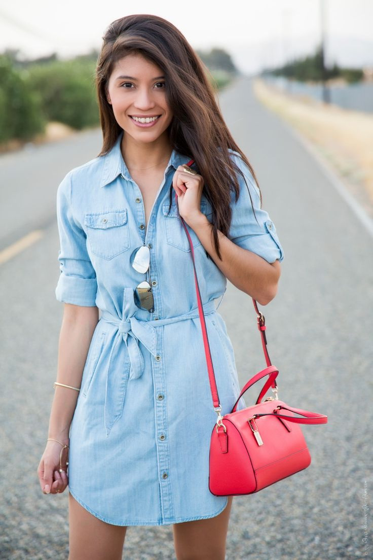 Blue denim dresses 2018 for Blue dress shirt outfit