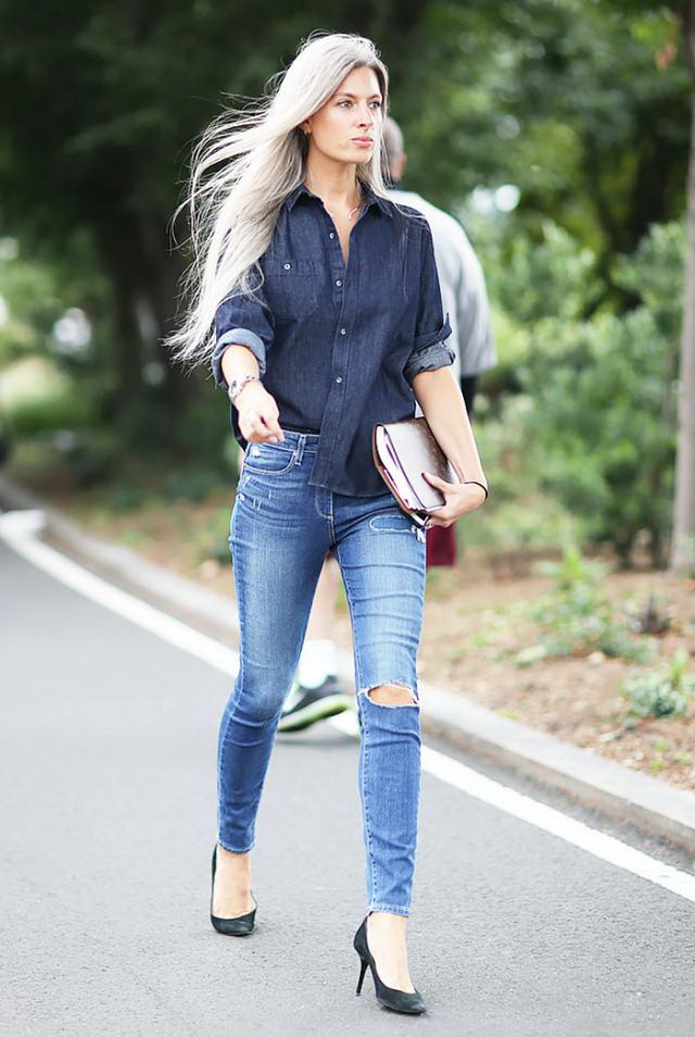 25 fashion tips on how to wear a denim shirt 2018