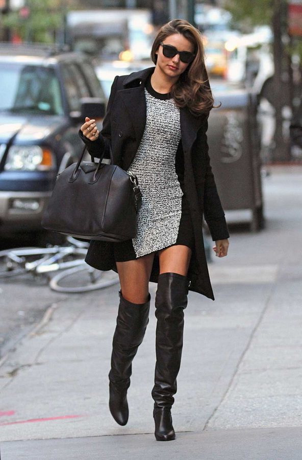 Black Dress with Boots Sweater