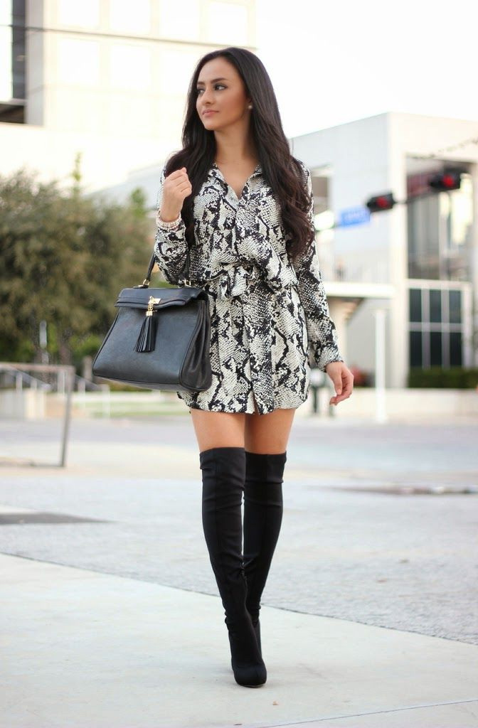 25 Ways To Style Dresses With Boots 2019