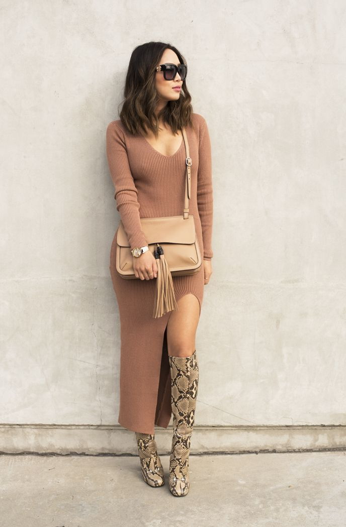 25 Ways To Style Dresses With Boots 2020