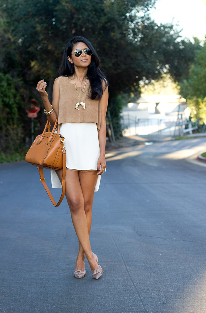 Short white mini skirt rather