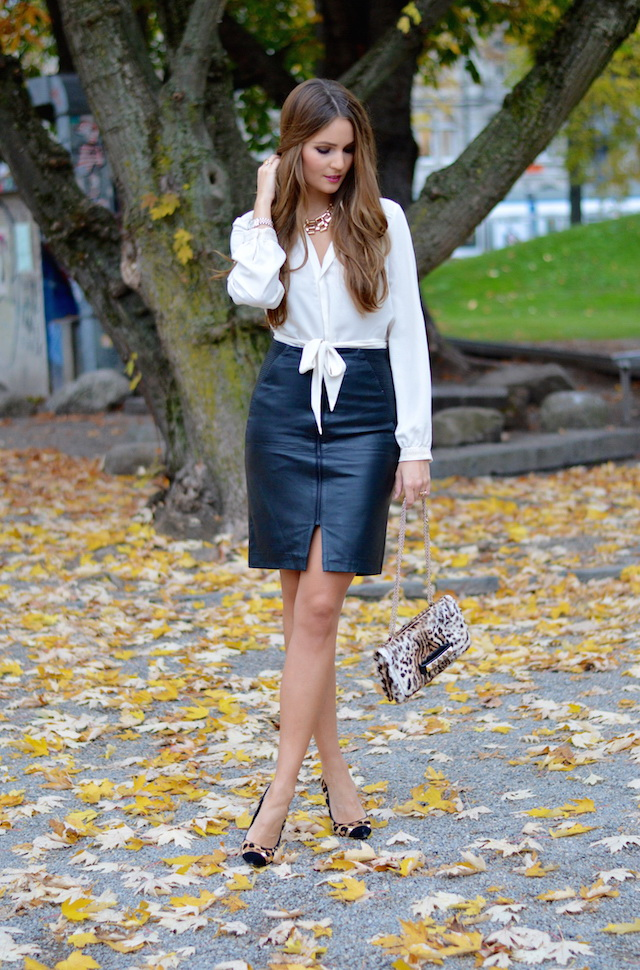 Leather Skirt Blouse