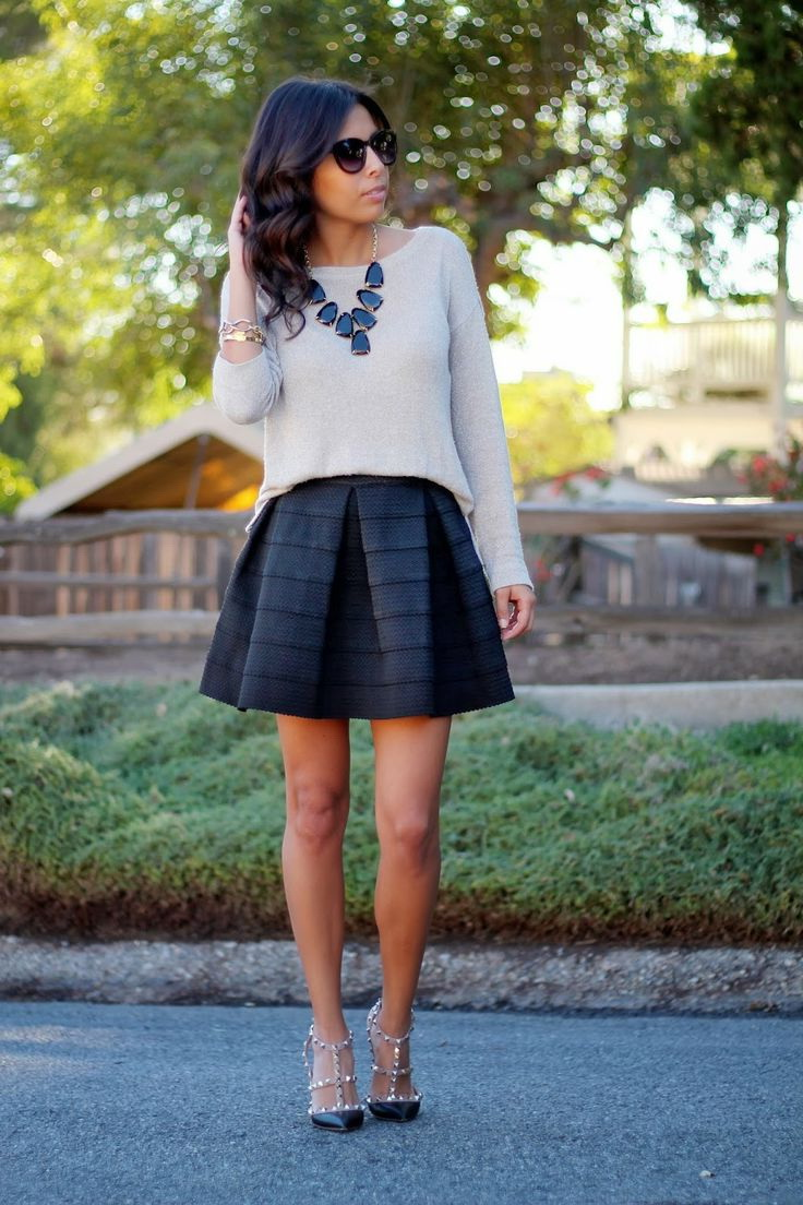 A-line Skirt Outfit Ideas 2018 | FashionTasty.com