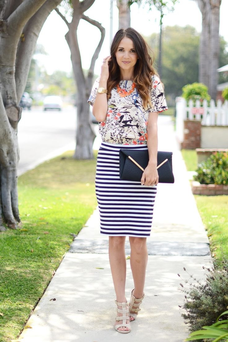 How to Wear a Black & White Striped Skirt. The easy answer to this question is to treat a black and white striped skirt like any neutral. This black and white pencil skirt from from Kohl's is perfect for wearing with a dressy white blouse and pumps. A silver clutch and silver jewelry (yes, Stella & Dot sorry, guys, but even before I.