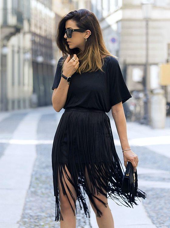 Image result for black fringe skirt