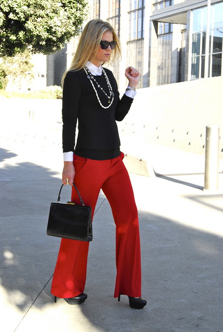 Ladies Red Pants Outfits 2021