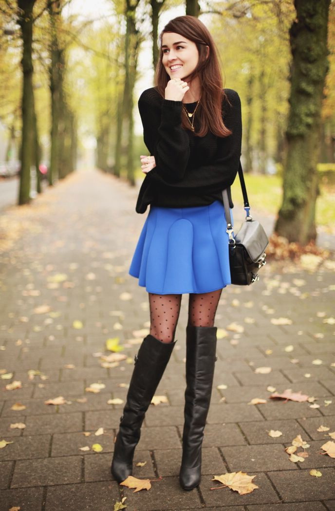Blue Skirts Outfit Combinations 2018