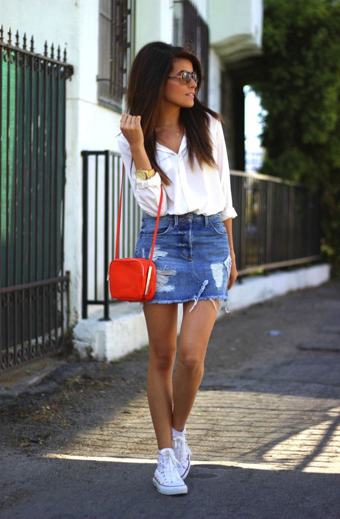 886a0d784f7b 25 Ways To Wear Denim Skirts 2019 | FashionTasty.com