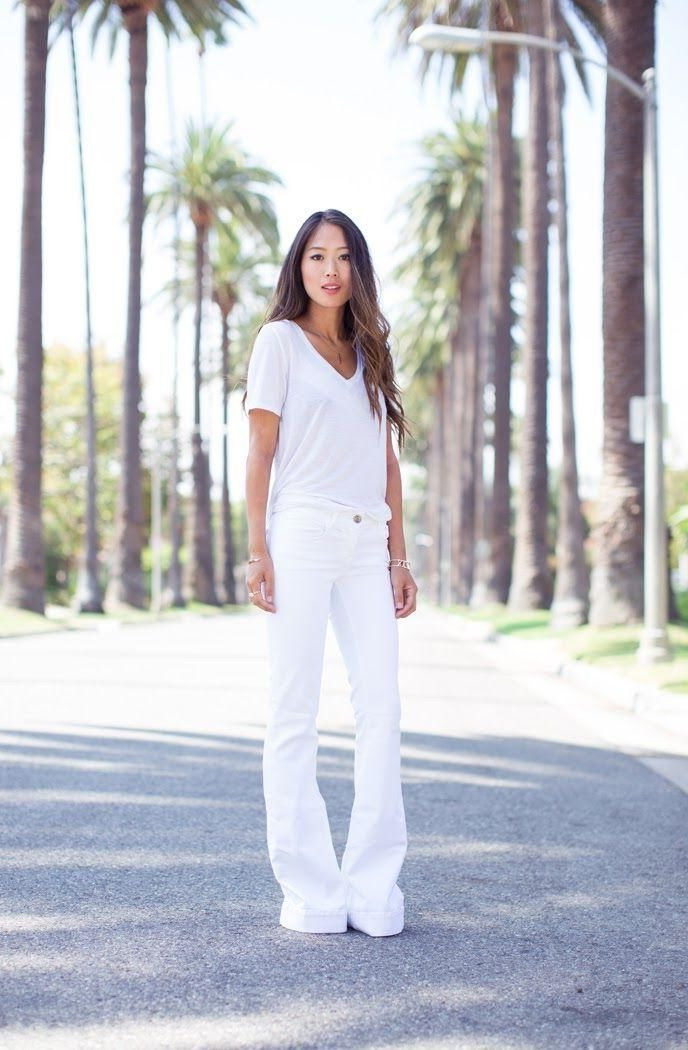 How to wear white jeans outfit ideas 2018 for White pants denim shirt