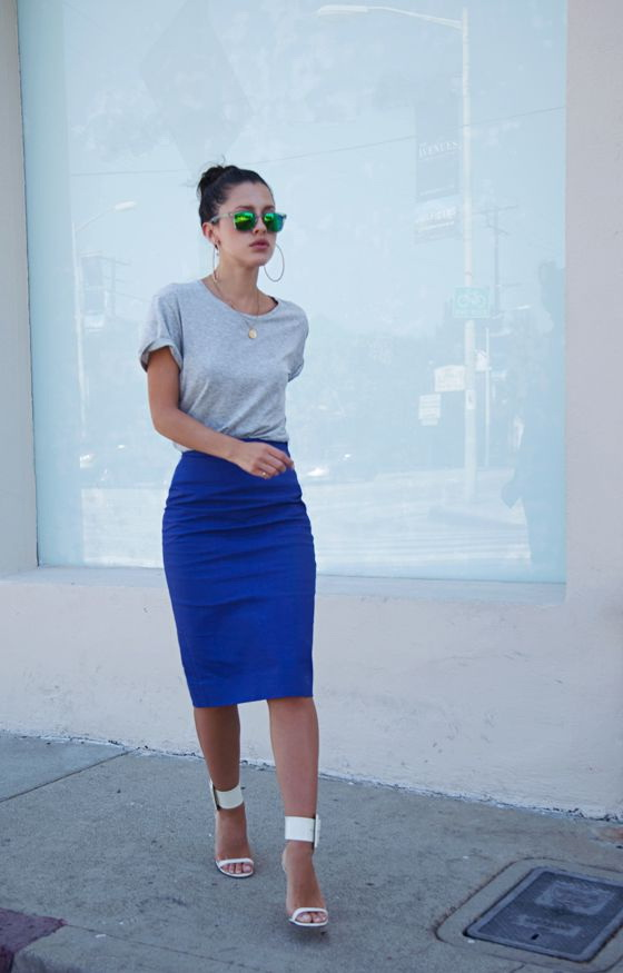 Blue Skirts Outfit Combinations 2017 | FashionTasty.com