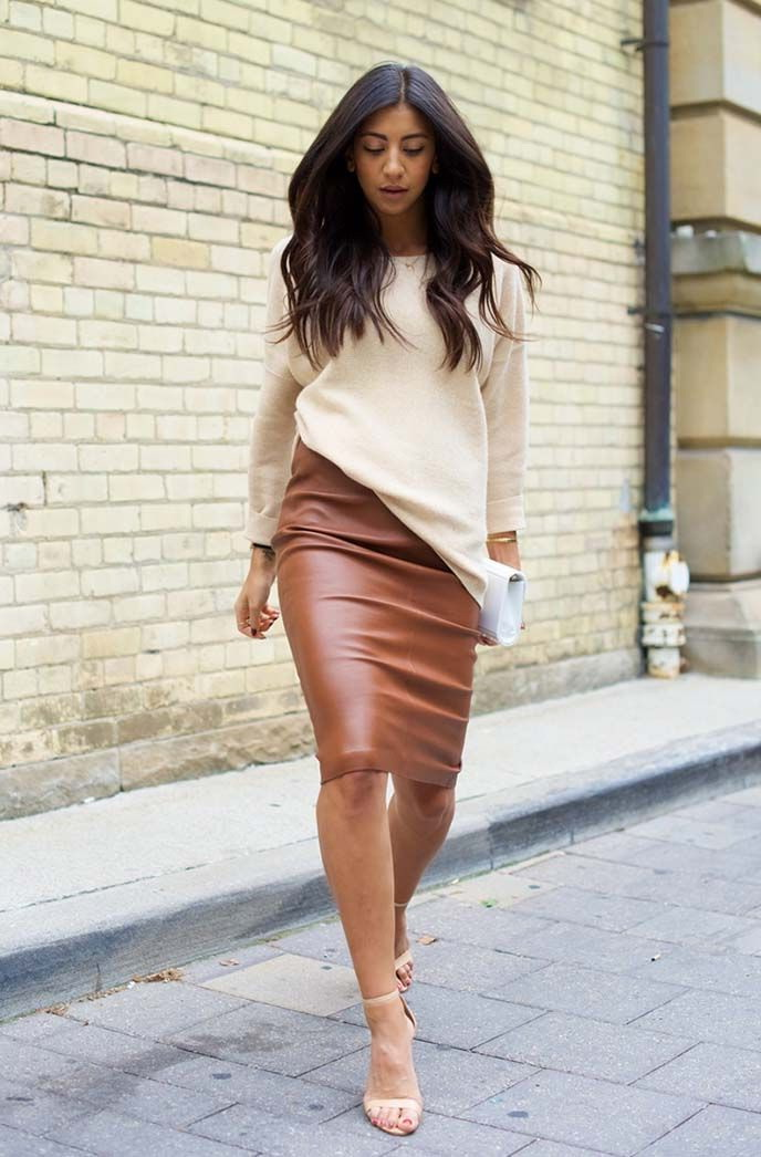 How To Wear A Brown Leather Skirt | Jill Dress
