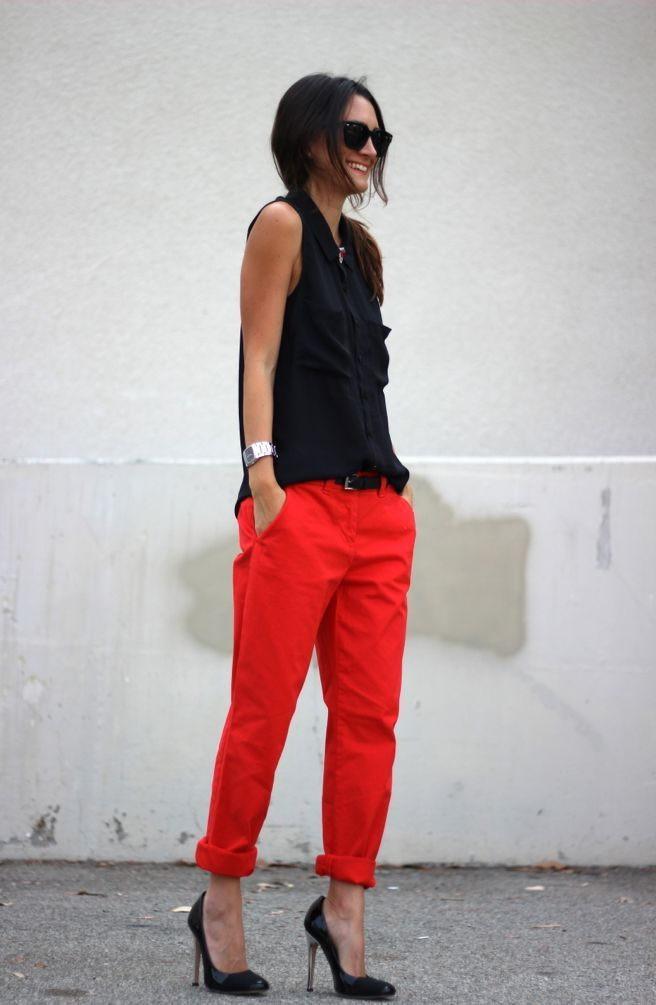 Ladies Red Pants Outfits 2020
