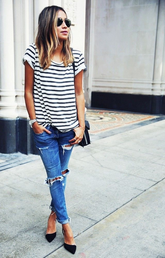 How To Wear Boyfriend Jeans (Outfit Ideas) 2017 | FashionTasty.com