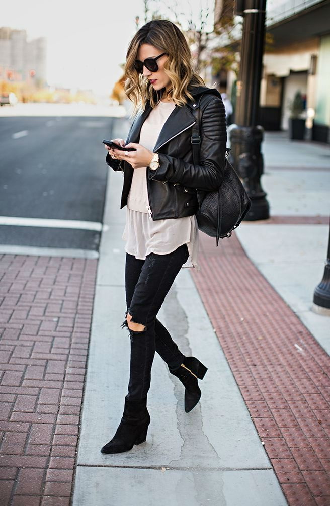 Ways To Wear A Leather Jacket For Women 2018 ...