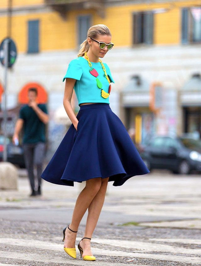 Blue Skirts Outfit Combinations 2019