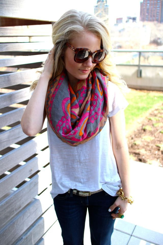 How to wear and tie a scarf in summer 2018 fashiontasty we see a white top which is updated with a printed wrap scarf ccuart Image collections