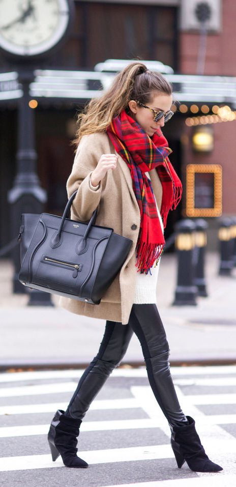 How To Wear A Plaid Scarf With A Coat 2017