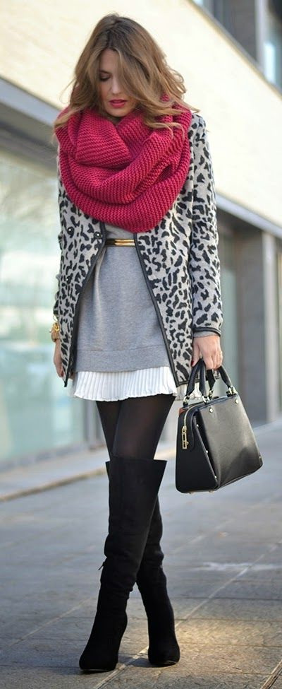 10 Ways To Wear Suede Knee High Boots With Scarves 2019