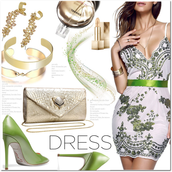 Cocktail Dresses White and Gold Heels